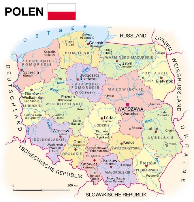 Karte Von Polen Ab In Den Osten
